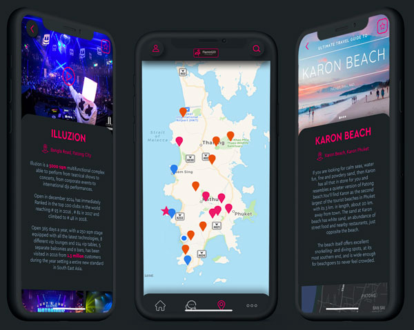 FlaminGo! The Phuket App Screen Maps